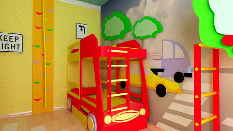 Children's room interior with car bed