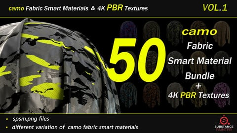 50  camo Fabric Smart Material Bundle + 4K PBR Texture