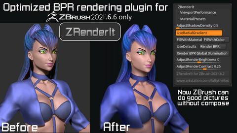 Optimized BPR rendering plugin for ZBrush 2021.6.6 only - ZRenderIt