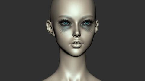 Female Head Ver E for Zbrush 2021.6