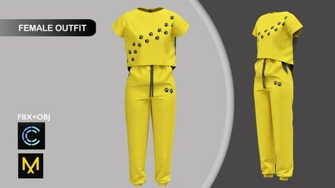 Female Summer Sport Outfit Marvelous Designer/Clo3d project + OBJ + FBX