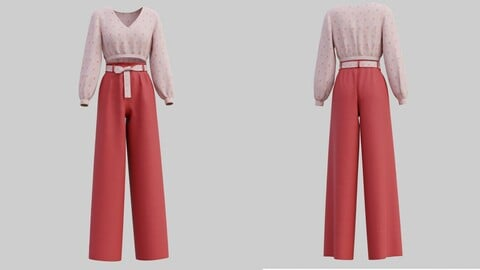 3D Floral Crop blouse and Wide  leg palazzo pants 2 piece outfit