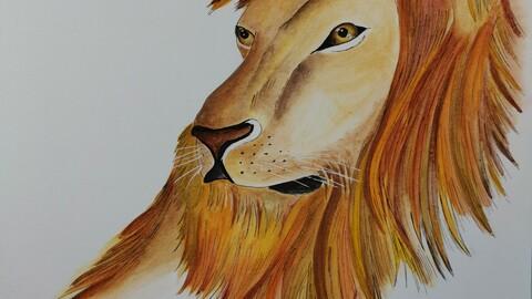 Golden lion  watercolor painting digital version