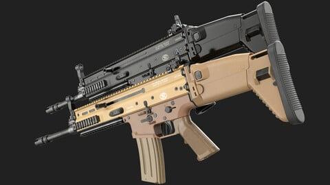 FN SCAR-L (16S) FDE / Black Noir (Game Ready)