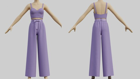 3D Crop Top and Wide  leg palazzo pants 2 piece outfit
