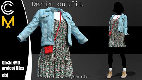 Denim outfit. Marvelous Designer/Clo3d project + OBJ.