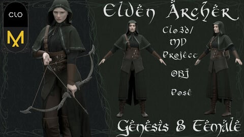 Clo3d/Marvelous designer Female Elven Archer outfit. Zprj/Obj/Pose