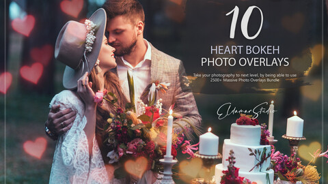 10 Heart Bokeh Photo Overlays