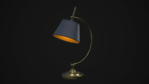 Vintage Table Lamp Blue and Bronze