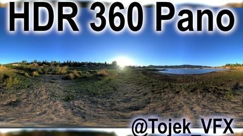 HDR 360 Panorama - Big Bear Lake CA - 112 Big Bear Frontier Beach sunset