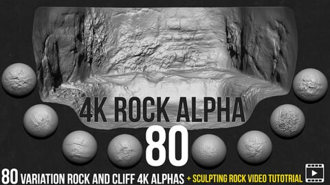 80 rock and cliff Alphas +  Sculpting rock video tutorial