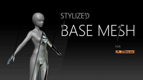 Stylized young female starter base mesh