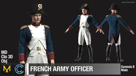 French Army officer / Marvelous Designer / Clo 3D project + obj