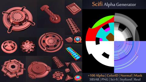Unique Scifi Alpha Generator | SBSAR + 100 Ready output | Alpha + ColorID + Normal + Mask