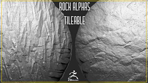 20 Rock Tileable Alphas (ZBrush, Substance)