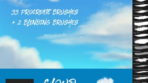 33 Amazing Cloud Brushes + 2 Blending Brushes for Procreate