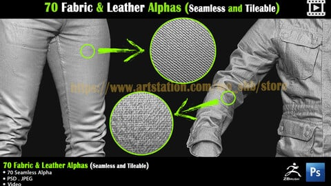 70 Fabric & Leather Alphas (Seamless and Tileable) + Video