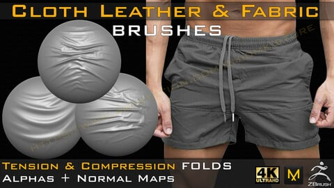 50 +10 cloth Leather & Fabric Brushes (4k) Tension & Compression Folds- Alpha + Normal Maps ( Vol.03 )