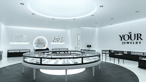 Jewelry Store Hi-Poly and Photorealistic