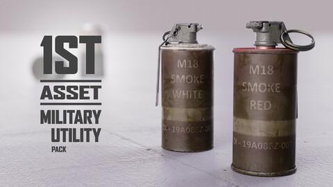 Smoke Grenades ( 2 / 6 colours ) + Bonus SG Container PBR game ready asset