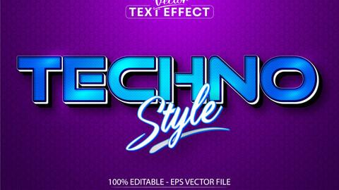 Techno style text, cartoon style editable text effect