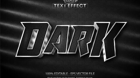 Dark text, shiny silver style editable text effect