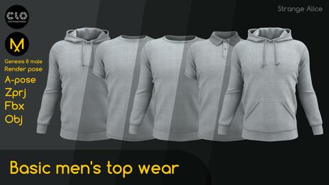 Basic men's top wear. Clo3d, Marvelous Designer projects.