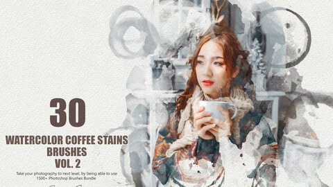 35 Watercolor Coffee Stains Brushes - Vol. 2