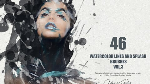 46 Watercolor Lines and Splash Brushes - Vol. 3