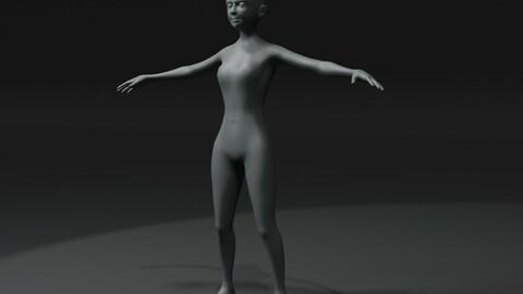 Girl Kid Body Base Mesh 3D Model 20k Polygons