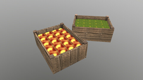 Low Poly Fruit Boxes 3D Model free