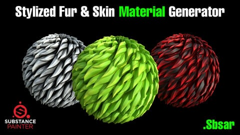 Sytlized Fur & Skin Material Generator ( .Sbsar & .Sbs ) High Quality