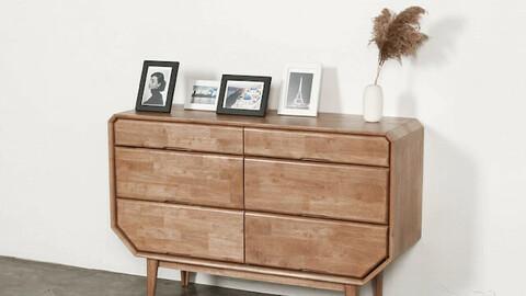 Rain Wood 3 Tier Wide Dresser Chest Ash Brown