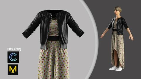 Female Leather Jacket+Dress Marvelous Designer/Clo3d project + OBJ + FBX