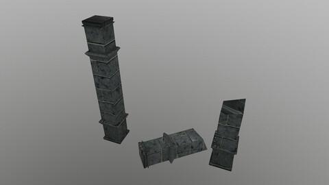 Low Poly Temple Column 3D Model