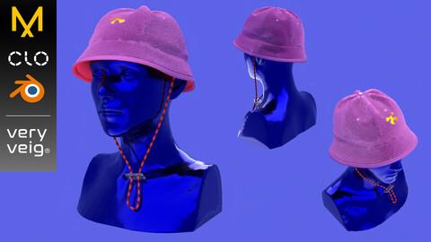 Bucket Hat - Streetwear (Marvelous Designer & Blender Project files + .Obj)