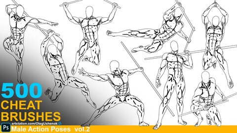 500 Cheat Brushes Male Action Poses