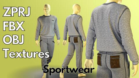 Marvelous Designer + Clo3d + OBJ + FBX + Texture : Men's sportswear