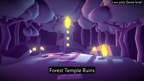 Forest Temple Ruins - Low poly game level