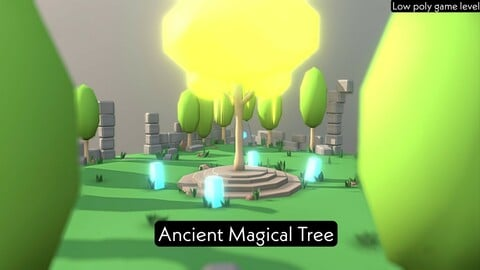 Ancient magical tree - low poly game level