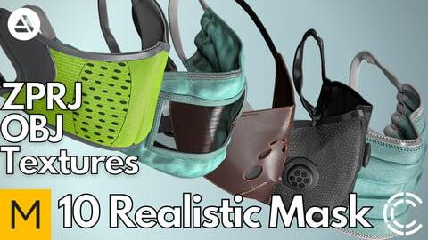 10 Realistic face mask (Marvelous Designer + Clo3d + OBJ + Texture)