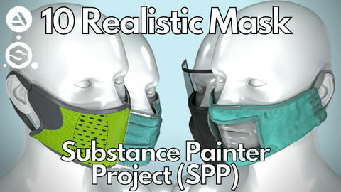 10 Realistic face mask ( Substance Painter .SPP )