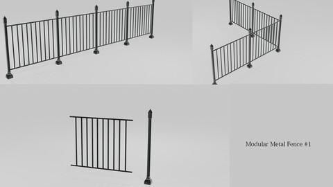 Modular Metal Fence 1 3D model