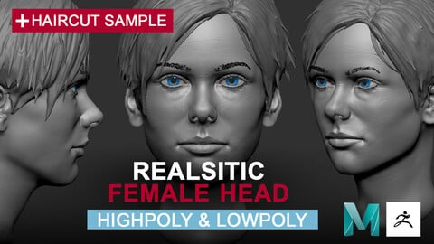 Realistic Female Head Highpoly & Lowpoly (topology for animation)