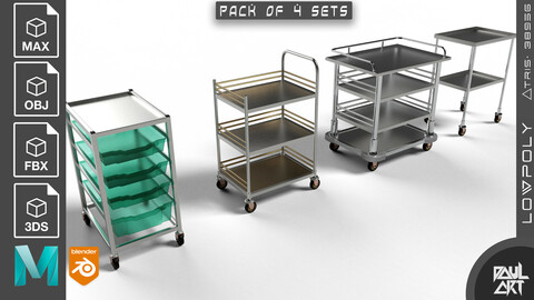 Service Cart trolley (Pack of 4 Sets)