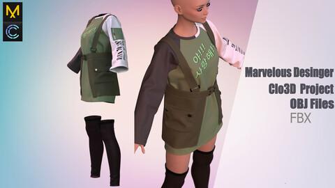 Girl, Korean fashion (MD/Clo3D Project + OBJ/FBX Files)