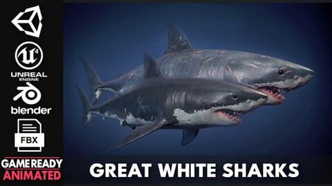Great White Sharks - Game Ready
