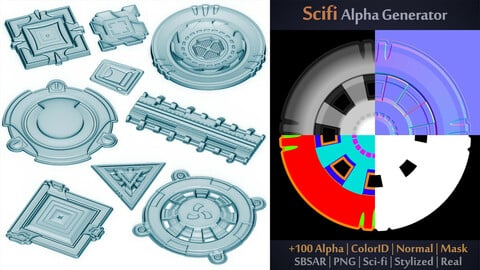 100 Scifi Brush + Unique Scifi Alpha Generator | SBSAR + 100 Ready output | Alpha + ColorID + Normal + Mask