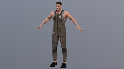 Delivery man with realtime hair UE4 ready to use