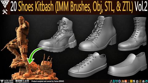 20 Shoes Kitbash (IMM Brush, Obj, STL, & ZTL) Vol 02